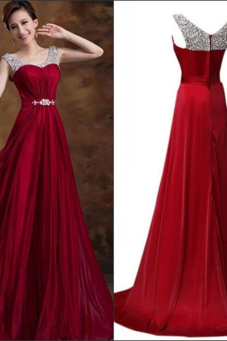 Dazzling Burgundy Sexy Long Formal Evening Dress Custom Long Prom Dress, homecoming dress, party dress, wedding dress, bridesmaid dress