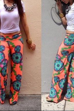 Summer new printed trousers straight jeans