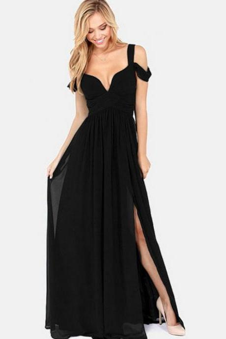 Black Off Shoulder Goddess Maxi Dress