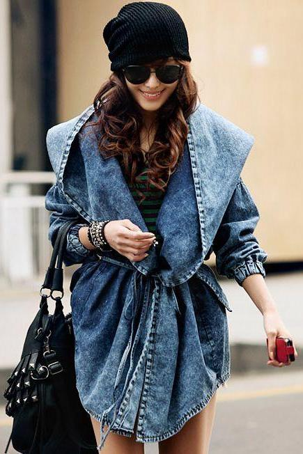 Chic Hooded Double Pockets Denim Jacket