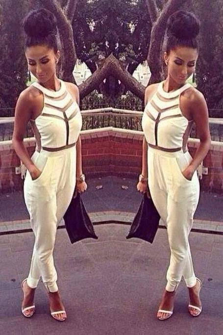 SEXY FASHION SPLICING TIGHT JUMPSUIT
