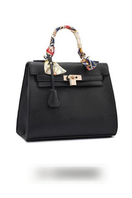Leather Handbag With Padlock Fastening Detail And Scarf Wrapped Handle