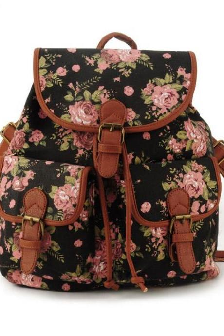 Cute school fashion black floral girl backpack