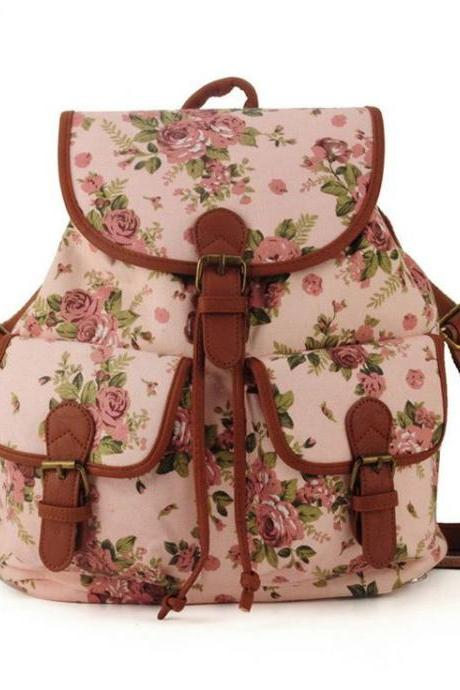 Cute school fashion pink floral girl backpack