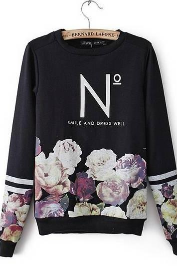 Floral Print Casual Hoodie Summer Fall Winter Top