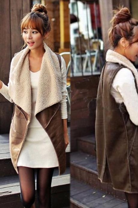 Fashion Long Women's Winter Faux Fur Vest Cream Outerwear Gilet Waistcoat Jacket
