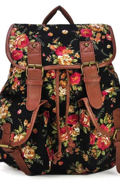Floral canvas fashion black camping girl backpack