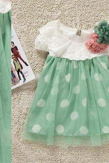 Newborn Mint Green Dress 3-6 Months Mint Green Floral Dress for Infants 3 months,6 months, 9 months,12 months