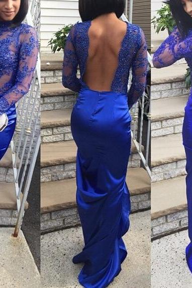 Royal Blue Applique Backless Prom Dress Mermaid Evening Dresses Formal Dress Party Dress