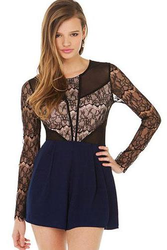 2015 summer Fashion Lace Spliced Long Sleeve Round Neck Jumpsuits for women