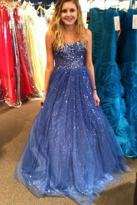 Sexy Beading Tulle Prom Dresses, The Charming Evening Dresses, Prom Dresses,Sweetheart Real Made Prom Dresses On Sale,