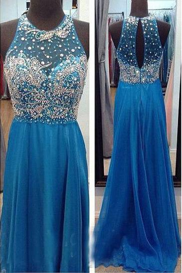 Sexy Backless Chiffon Prom Dresses, Beading Evening Dresses, Prom Dresses,O-Neck Real Made Prom Dresses On Sale,
