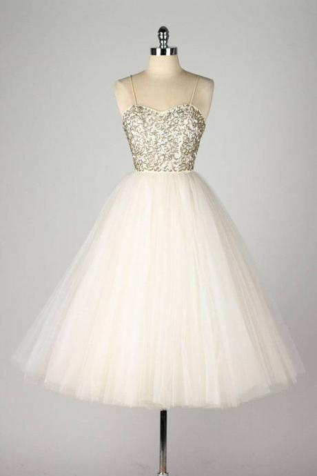 Spaghetti Strap A-line Short Tulle Dress with Sequin Embellishment - Homecoming Dress, Prom Dress, Formal Dress