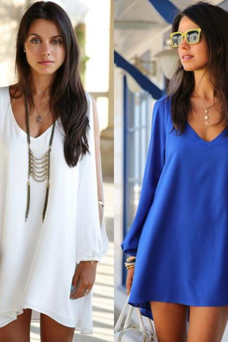 Women's Chiffon V-neck Casual Long Sleeve Dresses for 2015 hot summer