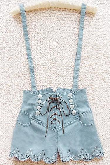 RETRO DOUBLE-BREASTED HIGH WAIST DENIM OVERALLS