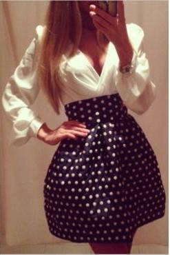 Cute Polka dots V Neck Dress