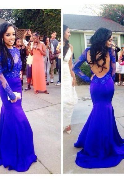 Custom Made Royal Blue Mermaid Prom Dress,Evening Dress,Long Sleeves Prom Dress 2015,Mermaid Prom Dress,Sexy Backless Prom Dresses