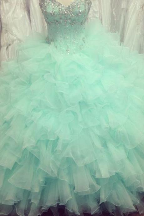 Puffy Mint Green Ball Gown Prom Dresses Organza Beaded Ruffled Quinceanera Dresses, Quinceanera Dress, Prom Gowns, Formal Gowns, Sweet 16