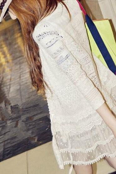 Perspective lace cardigan coat 6147098