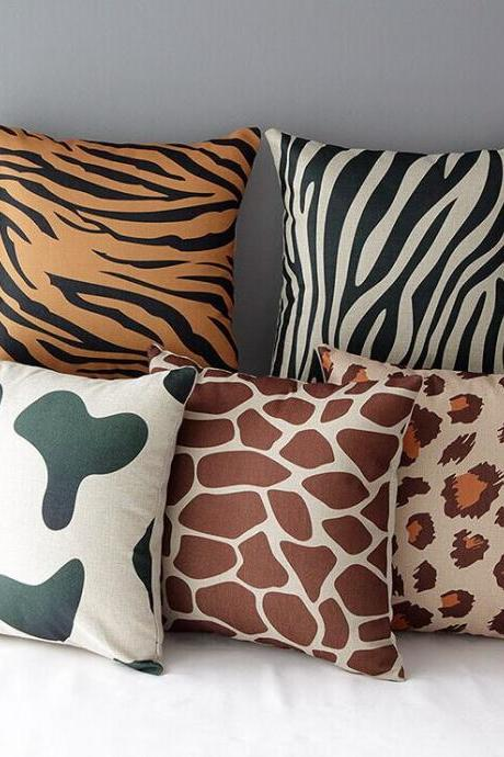 High Quality 5 pcs a set Animal patterns Cotton Linen Home Accesorries soft Comfortable Pillow Cover Cushion Cover 45cmx45cm