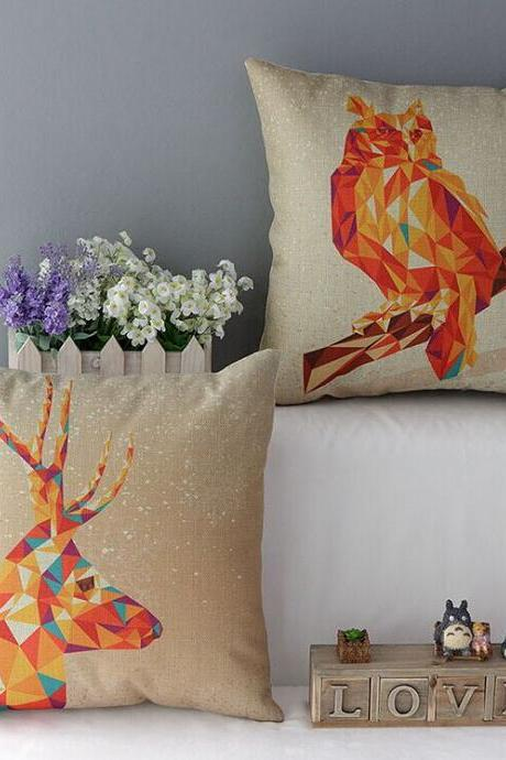 High Quality 2 pcs a set Polygon owl deer Cotton Linen Home Accesorries soft Comfortable Pillow Cover Cushion Cover 45cmx45cm