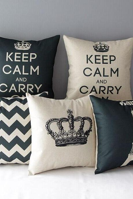 High Quality 5 pcs a set Black White Printed Cotton Linen Home Accesorries soft Comfortable Pillow Cover Cushion Cover 45cmx45cm