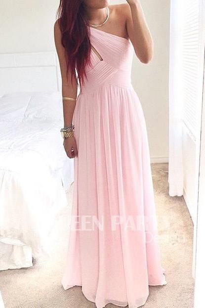 Pink Chiffon Long Prom Dress With Pleated