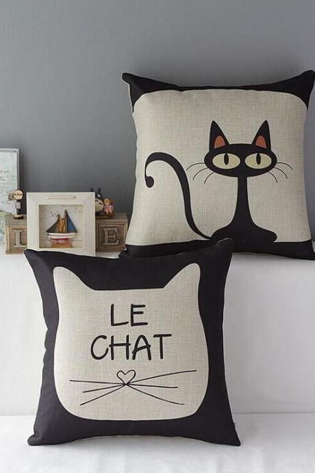 High Quality 2 pcs a set Black Cat Cotton Linen Home Accesorries soft Comfortable Pillow Cover Cushion Cover 45cmx45cm