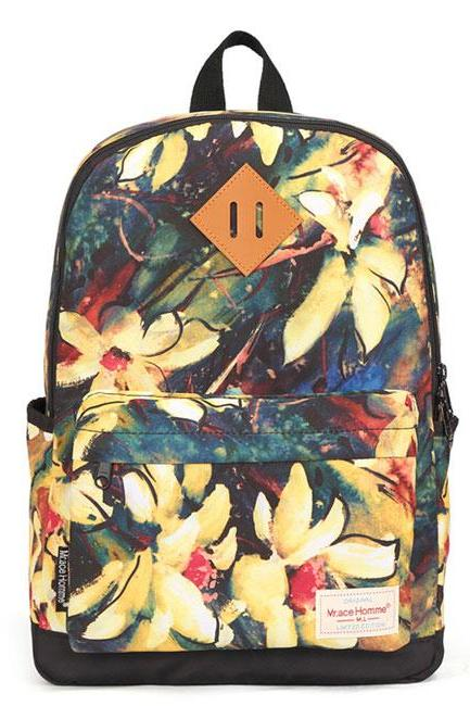 Floral Flower Waterproof College Backpack