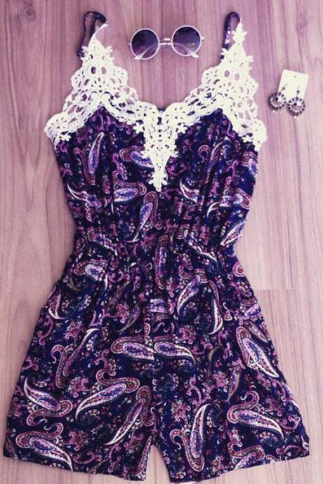 White lace printed purple jumpsuit