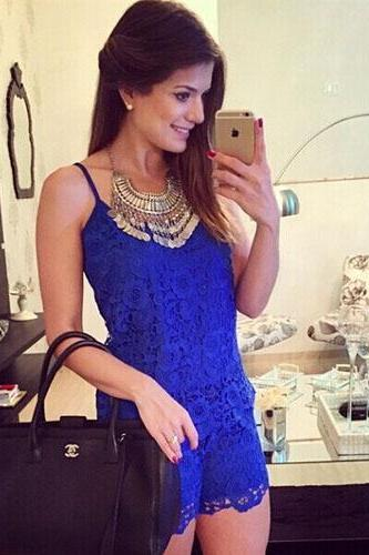 Fashion Solid Color Lace Sling Jumpsuit Shorts
