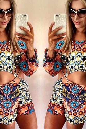 Sexy Hollow Out Long Sleeve Floral Print Jumpsuits