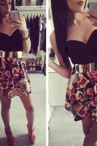 Sexy Strapless High Waist Floral Print Dress