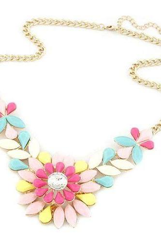 Flower crystal statement prom colorful dress girl necklace