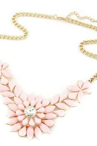Flower crystal statement prom pink dress girl necklace