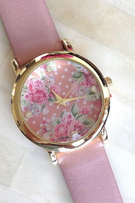 Floral face PU leather pink band fashion teen watch
