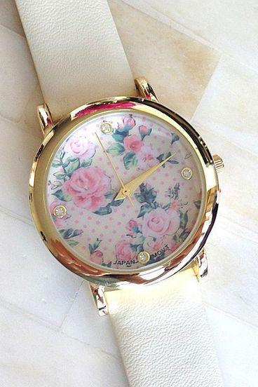 Floral face PU leather white band fashion teen watch