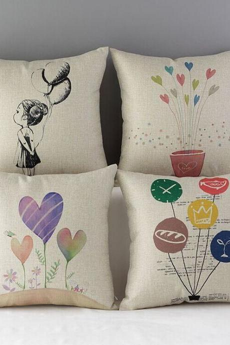 High Quality 4 pcs a set Girl flowers and balloons Cotton Linen Home Accesorries soft Comfortable Pillow Cover Cushion Cover 45cmx45cm