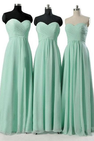 Mint Green Long Cheap Bridesmaid Dresses, Custom Made Bridesmaid Dress, Chiffon Bridesmaid Dress, Mint Prom Dresses, Elegant Formal Dress, Dresses For Weddings