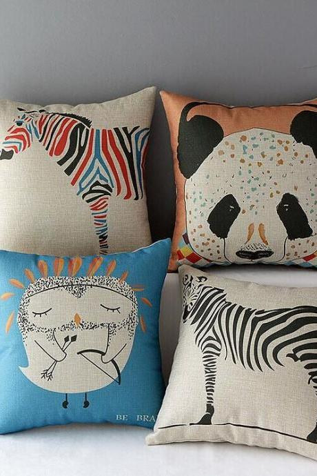 High Quality 4 pcs a set animals Cotton Linen Home Accesorries soft Comfortable Pillow Cover Cushion Cover 45cmx45cm