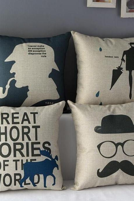 High Quality 4 pcs a set Sherlock Holmes Cotton Linen Home Accesorries soft Comfortable Pillow Cover Cushion Cover 45cmx45cm