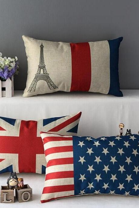 High Quality 3 pcs a set Flag Cotton Linen Home Accesorries soft Comfortable Lumbar Pillow Cover Cushion Cover 45cmx45cm