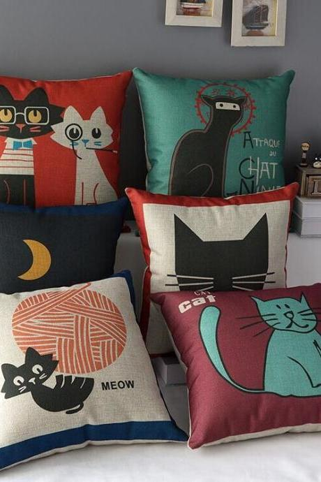 High Quality 6 pcs a set Cat Printed Cotton Linen Home Accesorries soft Comfortable Pillow Cover Cushion Cover 45cmx45cm