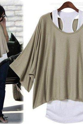Fashion, Bat Sleeve, Loose Big Yards T-Shirt