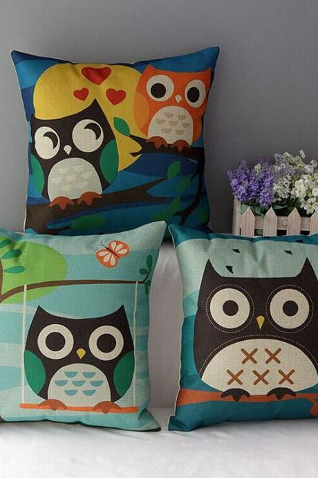 High Quality 3 pcs a set owl Cotton Linen Home Accesorries soft Comfortable Pillow Cover Cushion Cover 45cmx45cm