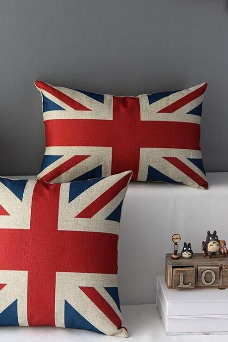 High Quality 2 pcs a set United Kingdom flag Cotton Linen Home Accesorries soft Comfortable Pillow Cover Cushion Cover 45cmx45cm