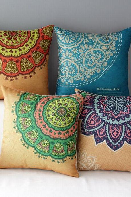 High Quality 4 pcs a set Folk-custom Cotton Linen Home Accesorries soft Comfortable Pillow Cover Cushion Cover 45cmx45cm