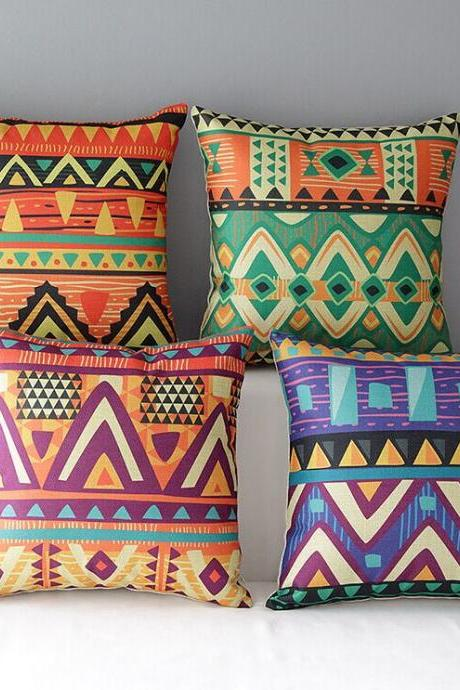 High Quality 4 pcs a set Ethnic pattern Cotton Linen Home Accesorries soft Comfortable Pillow Cover Cushion Cover 45cmx45cm