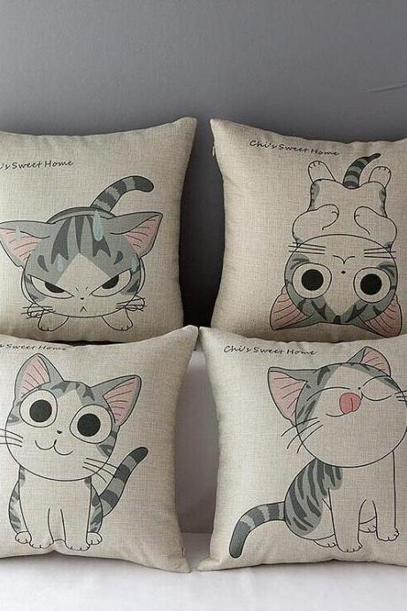 High Quality 4 pcs a set Cheese cat Cotton Linen Home Accesorries soft Comfortable Pillow Cover Cushion Cover 45cmx45cm