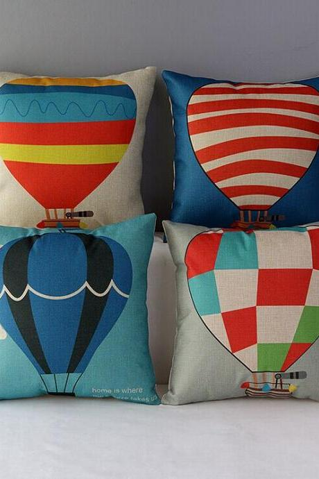High Quality 4 pcs a set Hot air balloon Cotton Linen Home Accesorries soft Comfortable Pillow Cover Cushion Cover 45cmx45cm